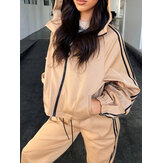 Women Solid Zipper Front Hooded Relaxed Fit Sport Casual Two-Piece Set