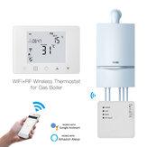MoesHouse WiFi Smart LCD 5A Caldera de gas suspendida en la pared Agua Controlador de temperatura de calefacción por suelo radiante eléctrico Termostato programable semanal digital Montado en la pared Trabajar con Alexa Google Home