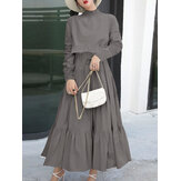Women High Neck Tiered Frill Waist Tie Casual Long Sleeve Pleated Maxi Dresses