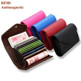 RFID Microfiber Leather Multi Slot 13 Card Slots Card Holder Pure Coin Bolsa
