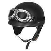 Motorino del motociclista del casco del mezzo fronte del motociclo del retro nero opaco con gli occhiali di protezione UV degli occhiali di protezione del visore del sole