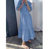 Warna Solid Puff Sleeve Pleats Ruffle Hem Holiday Maxi Dress
