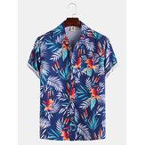 Camisas masculinas estilo havaiano Coco Folha flor estampa respirável de manga curta