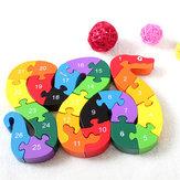 Kinder Kind Houten Blok Speelgoed Alfabet Aantal Bouwen Jigsaw Puzzle Snake Shape