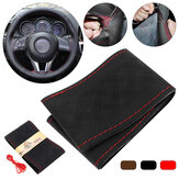 36/38cm Car Truck Leather Steering Wheel Cover + Needles Thread Multi-color