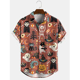 Halloween Cartoon Funny Print Turn Down Col Chemises à manches courtes