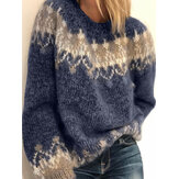 Women Vintage Pattern Round Neck Knit Long Sleeve Pullover Sweaters