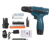 12V 1350RMP Cordless Drill Driver 3/8'' Keyless Chuck Impact Drill Set Wall Brick Wood Metal Drilling Tool W/ Battery & Charger