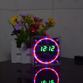 Geekcreit Upgrade DIY EC1515B DS1302 Light Control Rotation LED Electronic Clock Kit Size 81x81x2mm