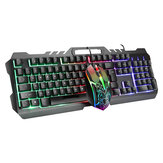 LIMEIDI T21 com fio Mecânico teclado e mouse conjunto 104 teclas RGB Backlight Teclado para jogos com suporte para telefone Mouse de 1600 dpi