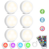 6PCS SOLMORE Rechargeable LED Cabinet Light USB RGB+White Wardrobe Lamp + Remote Control with Timer Function