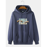 Original              Mens Touch Hand Graphic Print 100% Cotton Solid Casual Pullover Hoodie
