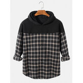Mens Plaid Patchwork Long Sleeve Drop Shoulder Casual Hoodies