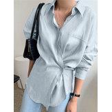 Camisas casuais de manga comprida feminina com botão oculto de lapela plus size