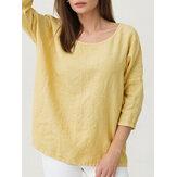 Damen Einfarbig halblanges T-Shirt aus Baumwolle mit Leinen-Rundhalsausschnitt