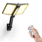 BlitzWolf® BW-OLT8 Waterproof IP64 Foldable Adjustable Angle Solar Spotlight with Dual Solar Panels, 3 Color Temperatures, Up to 500 Lumens, PIR Motion Sensor, Remote Control