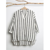 Women V-neck Long Sleeve Casual Loose Stripe Blouse