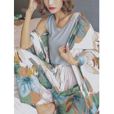 4Pcs Women Leaves Print V-Neck Sleeveless Wide Leg Pants Home Cozy Pajamas With Robes