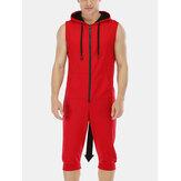 Herren New Casual Solid Color ärmellose Jumpsuit Nachtwäsche