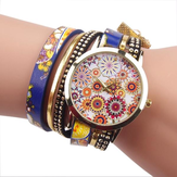 Mode Folk-custom Style Flower Big Dial Ladies Armband Bekijk Vrouwen Quartz Watch