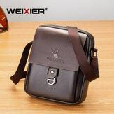 Men Faux Leather Retro Business Outdoor Vertical Backpack Shoulder Bag Crossbody Bag