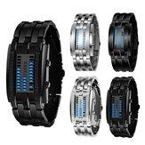 Relógio digital masculino XSVO Fashion Dial Retângulo LED Data e Hora 30M pulseira de aço impermeável