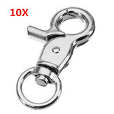 10Pcs 45mm Silver Zinc Alloy Swivel Lobster Claw Clasp Snap Hook with 11mm Round Ring