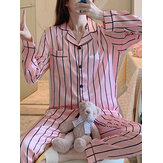 Women Pink Stripe Print Camp Collar Long Sleeve Home Casual Faux Silk Pajama Sets