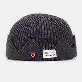 Unisex Solid Colo rAutumn und Winter Woollen warm halten Krempe ohne Schädel Cap Strick Hut