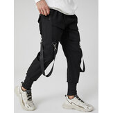 Mens Solid Multi Pocket Elastic Waist Cargo Beam Feet Pants With Ribbon