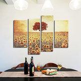 4 SZTUK Bezramowe Obraz Olejny Płótnie Słonecznikowe Nowoczesne Wall Art Home Decoration Paper Art