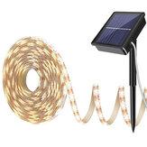 Faixa luminosa de energia solar branca quente 2835 LED IP65 decoração para jardim externo à prova d'água
