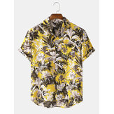 Mens Tropical Floral Print Brusttasche Kurzarm Hawaii Holiday Shirts