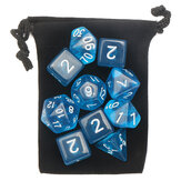 10PCS Sky Blue Acrylic Polyhedral Dice Set With Storage Bag Geometric Multi Sided TRPG Board Game Dices Toys