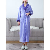 Women Flannel Long Sleeve Sashes Home Casual Robes With Pocket