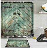 180センチメートル×180センチメートル木製の納屋のドアのバスルーム防水ファブリックシャワーカーテンフランネルのバスルームマット