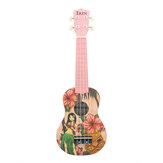 IRIN 21 '' Pembe Kız Mini Akustik Gitar 4 Dize Ukulele Hediye Çocuklar Başlayanlar için