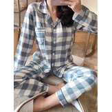 6 Muster Damen Plaid Revere Kragen Langarm Loose Home Pyjama Set