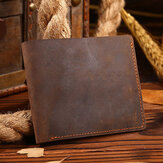 Men Genuine Leather Retro Money Clip Foldable Card Holder Wallet Short Wallet