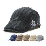 ユニセックスコットン刺繍ストライプベレー帽ダックビルゴルフフラットバックルバイザーキャビーキャップ