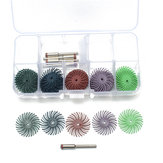 30pcs 25mm Radial Bristle Disc Brushes 80-1000 Grit with 5pcs Mandrel Rotary Adapter
