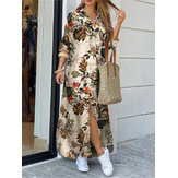 Women Cotton Flower Print Loose Casual Maxi Shirts Dress with Front Pockets