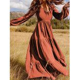 女性レトロ無地バックジッパーパフ袖緩いカジュアルマキシドレス