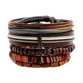 Retro Multilayer Holzperlen Leder verstellbare Männer Armband