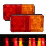2pcs 10 LED luzes traseiras indicadoras de parada vermelho + âmbar para reboque caminhão camião caravana van 12-80 v