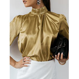 Women Satin Stand Collar Frog Button Back Long Sleeve Pleated OL Blouses
