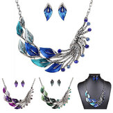 Gradien Warna Daun Peacock Enamel Crystal Necklace