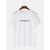 Minimalist Text Print 100% Cotton Camisetas de manga corta básicas