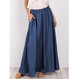 Women Pure Color Elastic Waist Simple Swing Skirts With Pocket