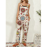 Women Ethnic Pattern Print Straps Casual Loose Jumpsuit With Pocket